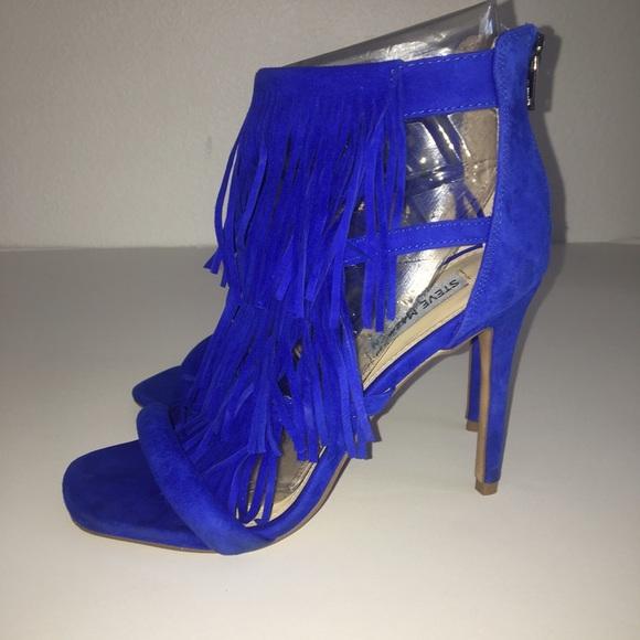 81eed5574d4 Steve Madden Fringly Suede Heel Royal Blue Sz 8